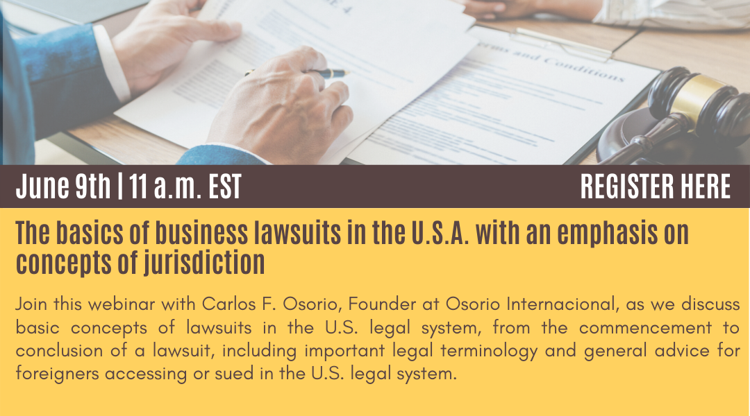Banner about the webinar the basics of business lawsuits in USA